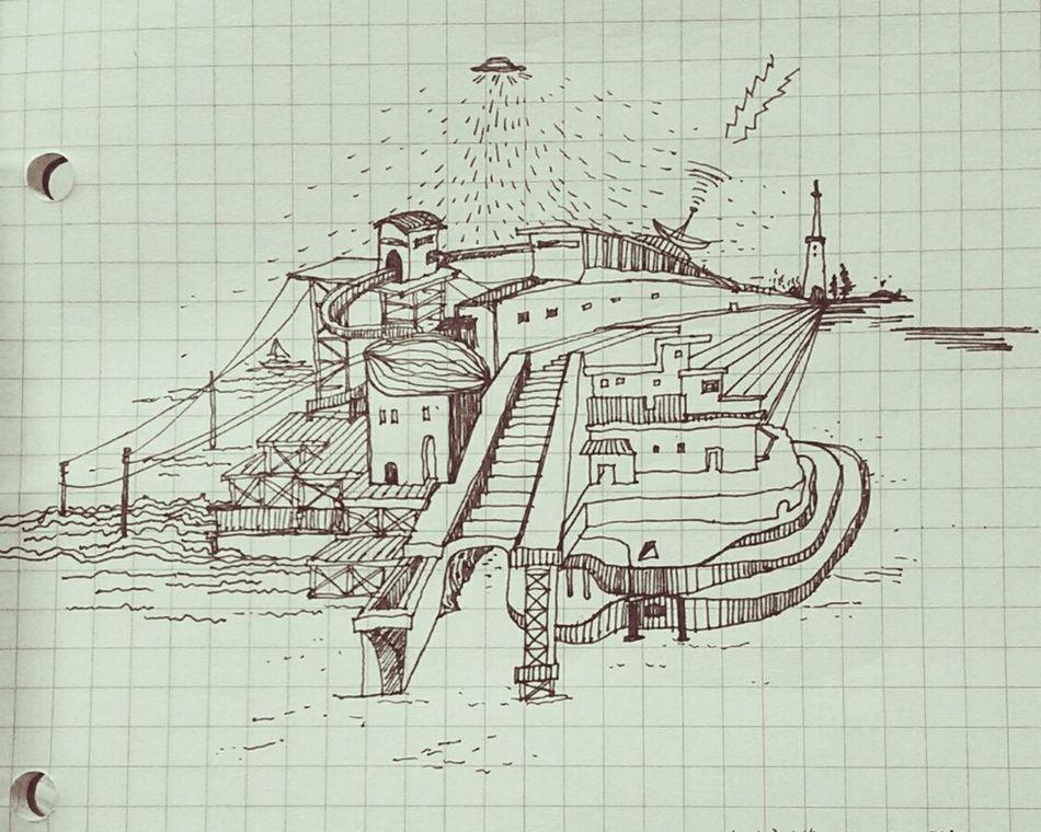 Architecture Illustration Black And White 艸木森森