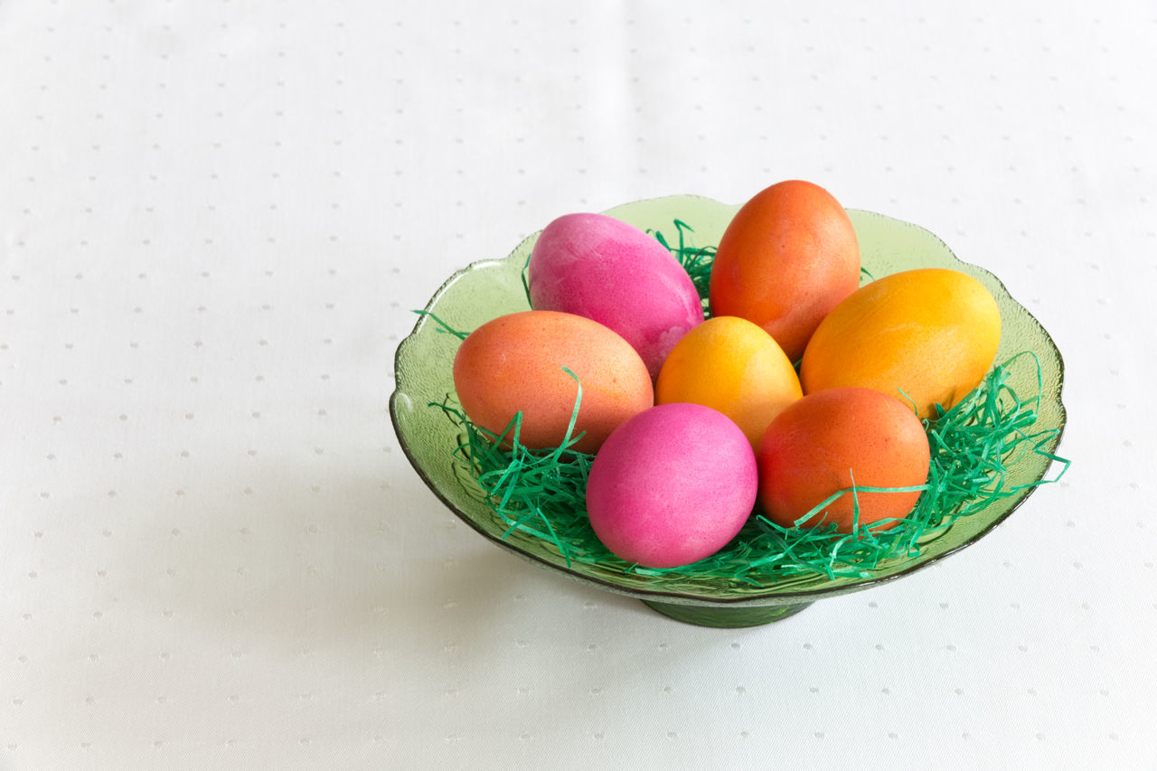 Bowl Close-up Colored Eggs Colorful Coloured Eggs Easter Eggs Easter Ready Easter Sunday Food Food And Drink High Angle View Indoors  Large Group Of Objects Multi Colored No People Still Life Table Tradition White Background Colour Of Life
