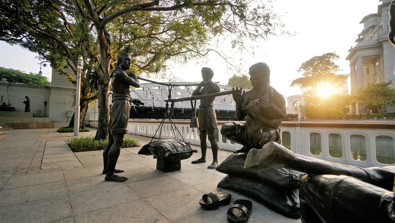 Singapore View Street Outdoors Men Adult Statues