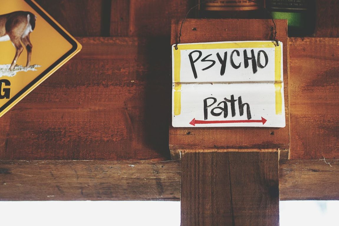 So simple and sooo brilliant! :)))) Psychopath Psycho Path Signs Simplicity Sign Directions Follow The Path Humor Funny