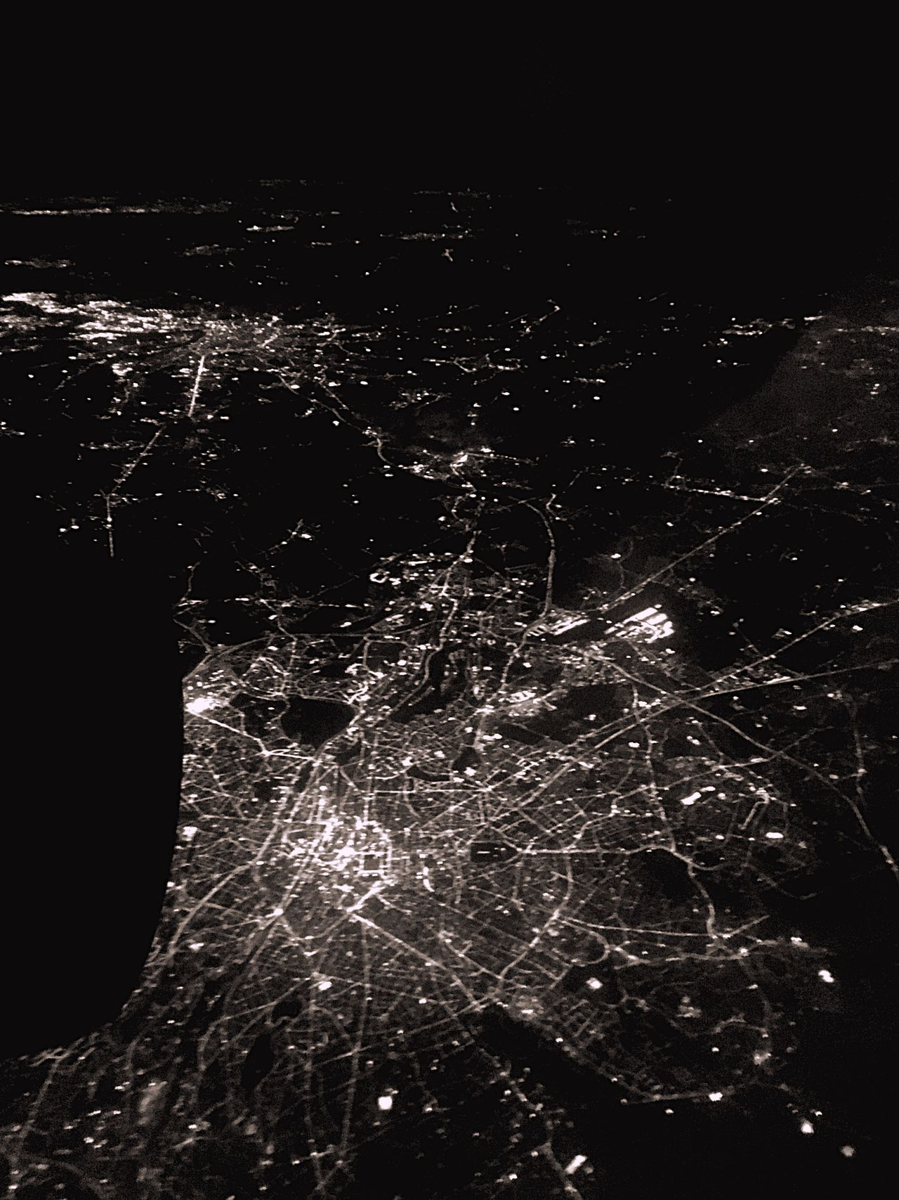 The scale of Humanity. Over Brussels, in the dark.