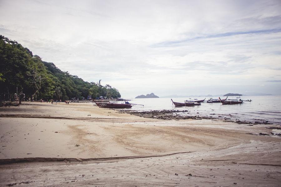 Beach Boats⛵️ Calm Water Calmness Idyllic Scenery Landscape Lifeisabeach Sand Sea Sky Sunset Water