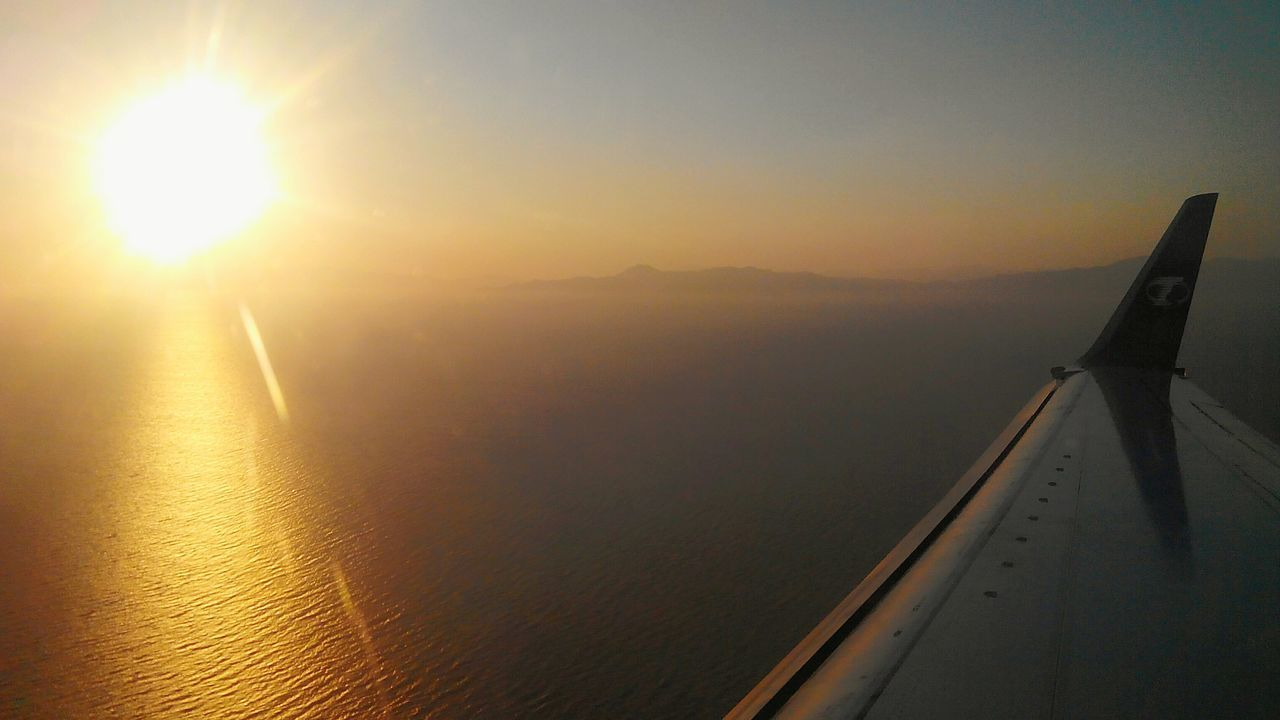 Landing in Rhodes Island Sunset Sea And Sky Plane Wing Mediterran Greece Peace Beautiful Holiday Eyeemphotography Flying Flying In The Sky The Essence Of Summer Sea Seaside Landing Nopeople Golden Bridge On The Way On The Road Travelling 43 Golden Moments Original Experiences