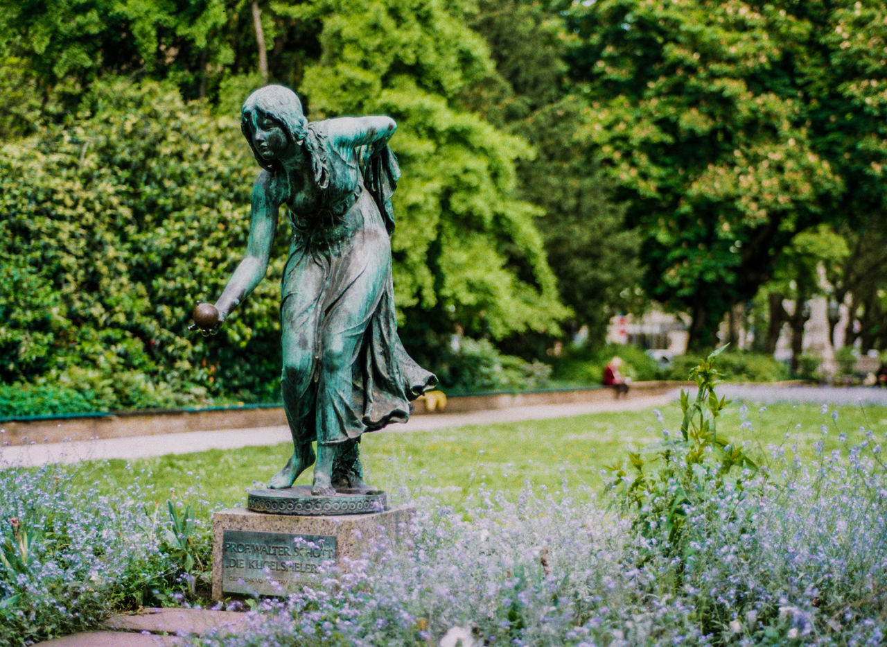 statue, sculpture, outdoors, day, no people, plant, tree, nature, close-up