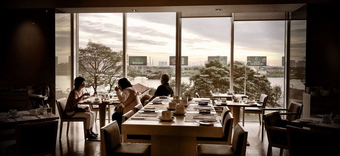 Another breakfast, another view Window Table Indoors  Mature Adult Adult Day Dining Table Adults Only People Mekong River Breakfast Breakfast Time Vietnam Ho Chi Minh City IPhone 7 View From Where I Sit Hotel Early Sunday Morning