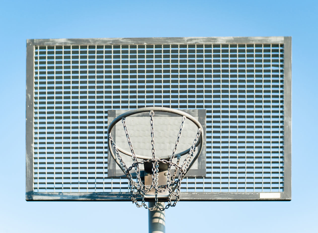 Basketball hoop in front of blue sky Basketball - Sport Basketball Hoop Blue Clear Sky Outdoor Activity Sky Sport Street Basketball Streetball