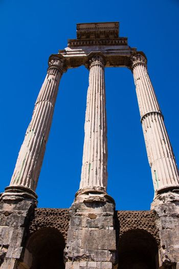 Rome Ancient History Old Ruin Ruined The Past Architecture Ancient Civilization Damaged Blue Bad Condition Built Structure Low Angle View Clear Sky Archaeology Travel Destinations Tourism Weathered Civilization No People Outdoors