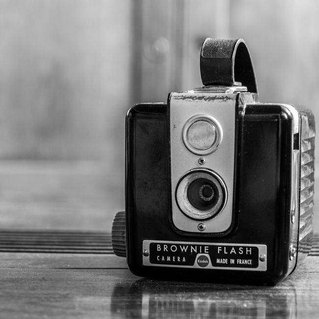 Black And White Blackandwhite Brownie Bw Camera Camera - Photographic Equipment Close-up Creativity Day Design Fashion Flash Focus Object Indoors  Maximum Closeness Nikon Nikonphotography Old Old-fashioned Photo Photography Themes Style Technology Vintage Vintage Photo