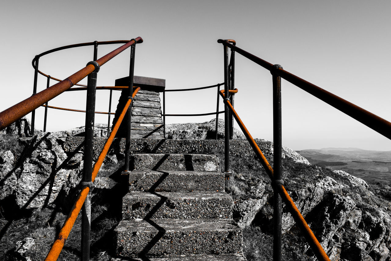 At the top! Architecture Blackandwhite Built Structure Clear Sky Day EyeEm Best Shots EyeEmBestEdits Landscape Nature No People Outdoors Railing Scenics Sky Steps Summit Rusty Metal Rusty Railings Breathing Space