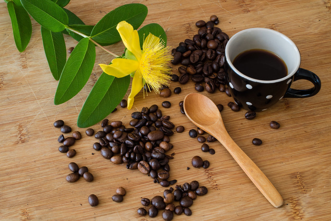 Top view of coffee beans , cup with espresso and hypericum flowers on the wooden background Brown Close-up Coffee - Drink Coffee Bean Coffee Cup Cup Day Drink Flower Food Food And Drink Freshness Indoors  Large Group Of Objects Leaf Mocha No People Raw Coffee Bean Refreshment Roasted Coffee Bean Scented Still Life Table Wood - Material
