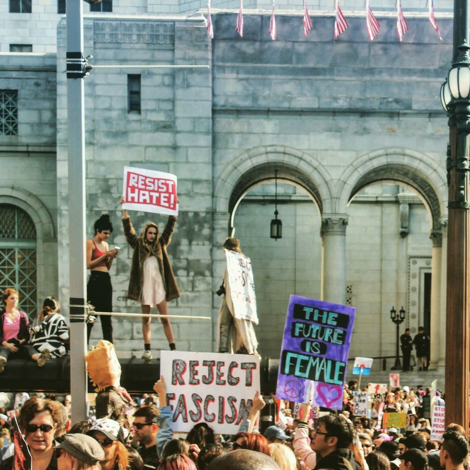Resist Hate Womensmarch Losangeles California Womensmarchla Stand Up Streetphotography Mycitymydreams Protest DTLA Vivalamuxer Unity Empowerment  OneLove People Downtown Freedom Arts Culture And Entertainment City Life Girl Women Around The World