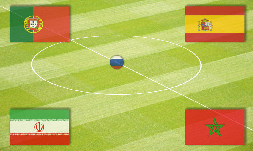 Soccer field with WM Group B Eighth-Finals Football Group Stage Lines Marker Morocco National Team Portugal Russia SPAIN Semi-Finals Stadium World Championship World Cup Mating World Ranking Final Football Field Football Pitch Group Play Iran Middle Circle Play Matings Round Of The Last Sixteen World Championship Mating World Cup