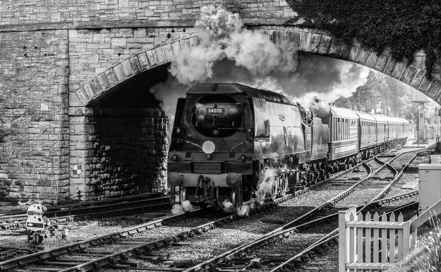 '34070' Manston, Seen Steaming Out Of Swanage Station On A Sunny Monday. Day Locomotive Mode Of Transport No People Outdoors Public Transportation Rail Transportation Railroad Track Sky Steam Train Train - Vehicle Transportation Black And White Friday EyeEmNewHere