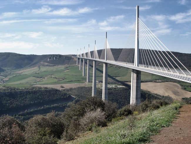 The bridge at Millau in France France Connection Sky Bridge - Man Made Structure Cloud - Sky Day Outdoors No People Nature Landscape Built Structure Architecture Mountain Tree Beauty In Nature