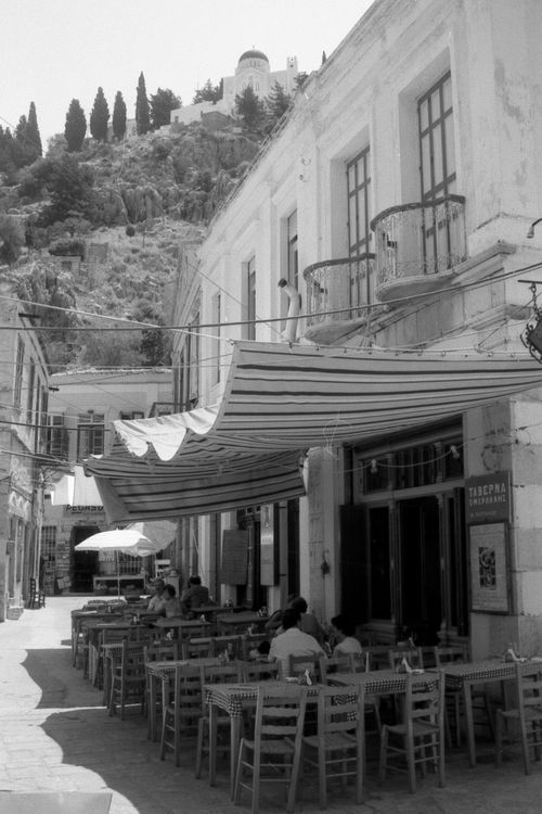 Taverna in Patmos, Greece Architecture Bar Building Exterior Built Structure Cafe Clear Sky Day Façade Greece Greek Incidental People Old Outdoors Outside Drin Outside Eating Restaurant Taverna