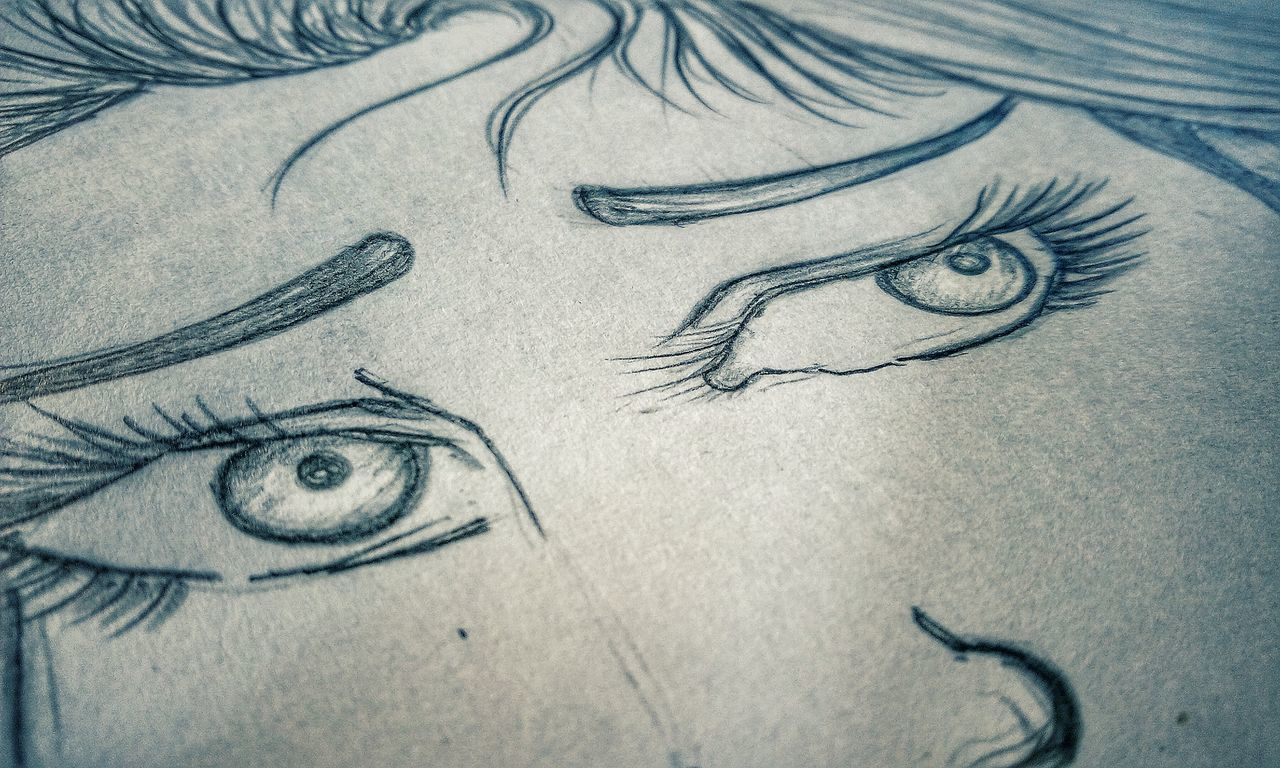 human body part, paper, close-up, indoors, human eye, one person, ink, human hand, people, day
