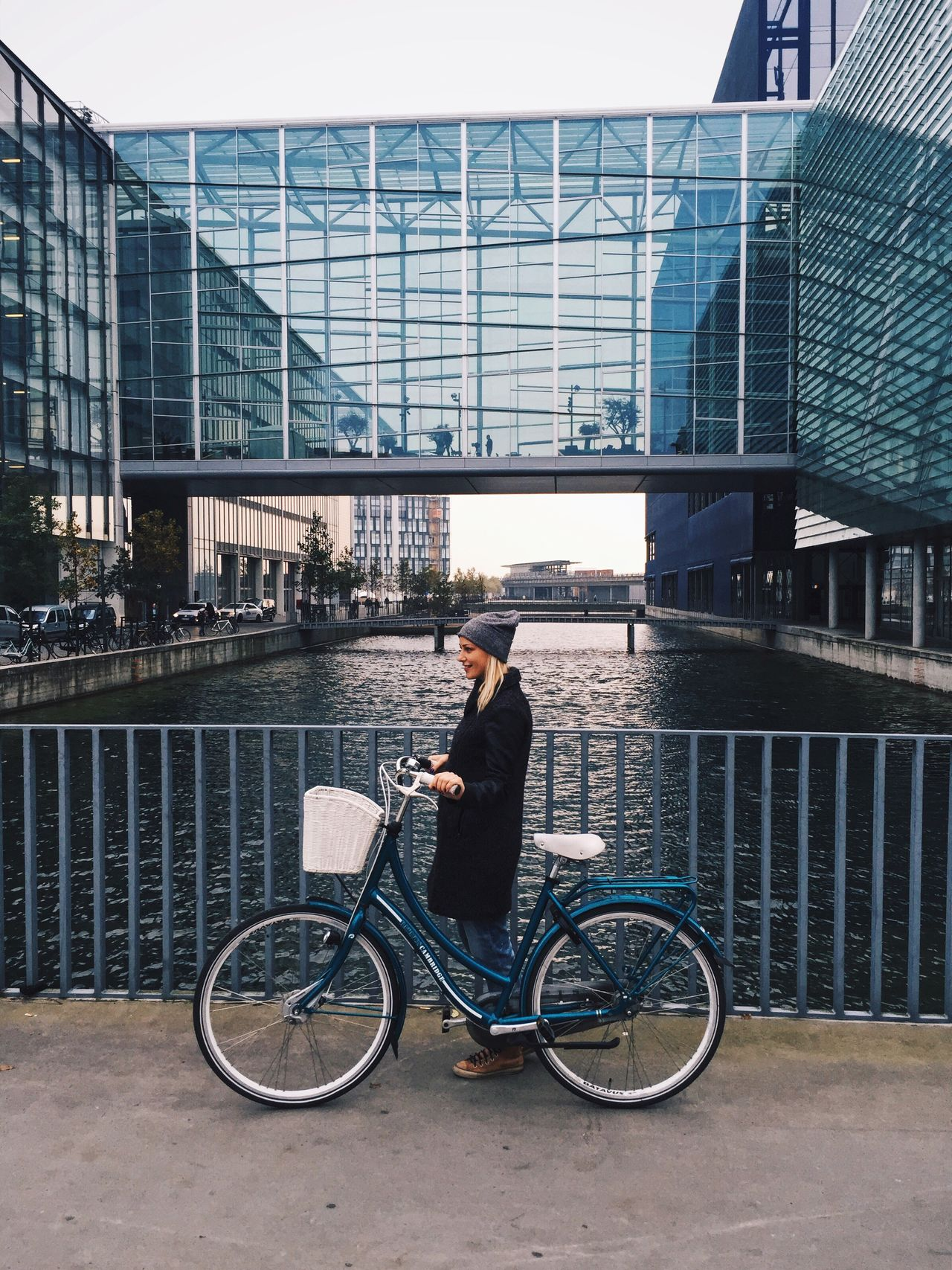 Bicycle Transportation Architecture Built Structure Building Exterior Mode Of Transport Railing City Cycling One Person Day Full Length Adults Only Outdoors Standing Adult Real People Only Men People Sky
