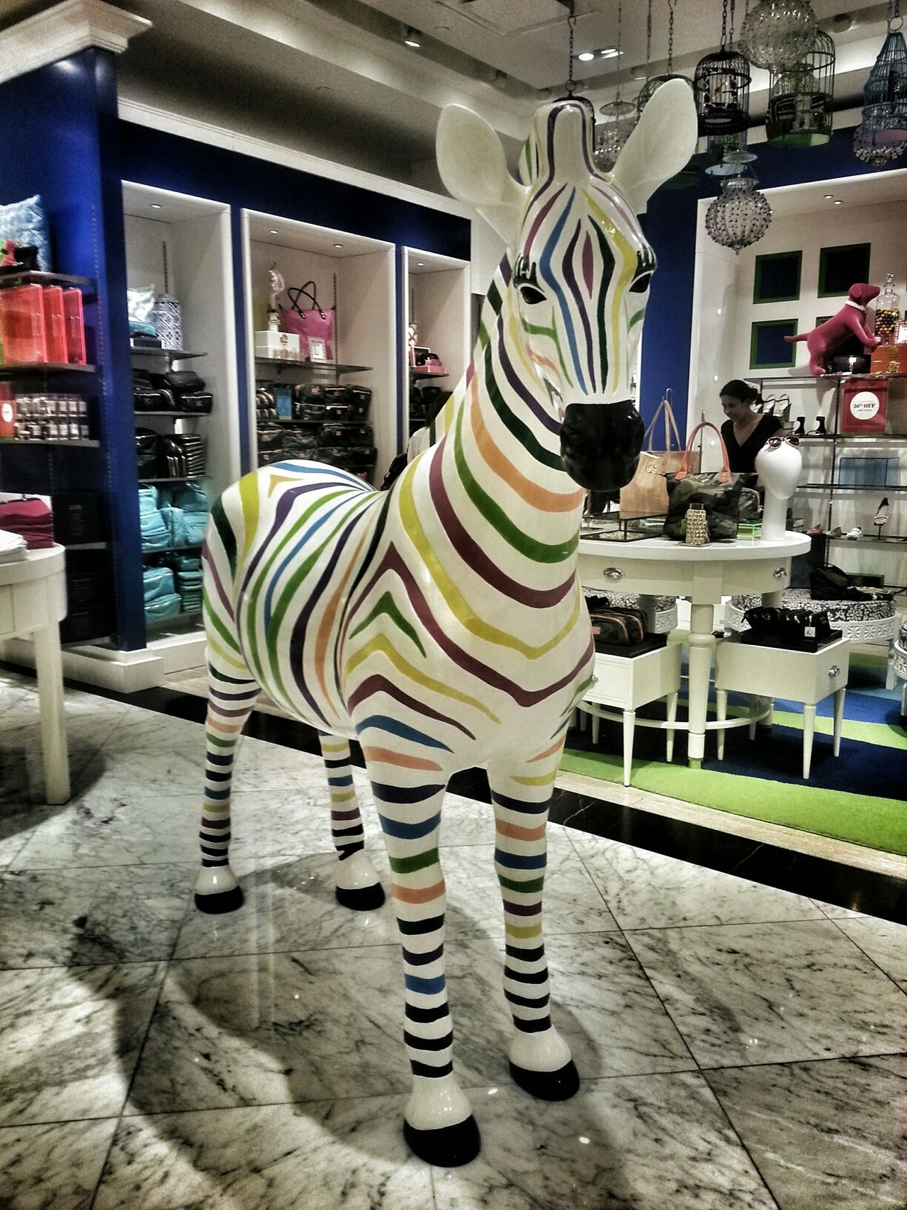 rainbow zebra Colorful Zebra Sculpture