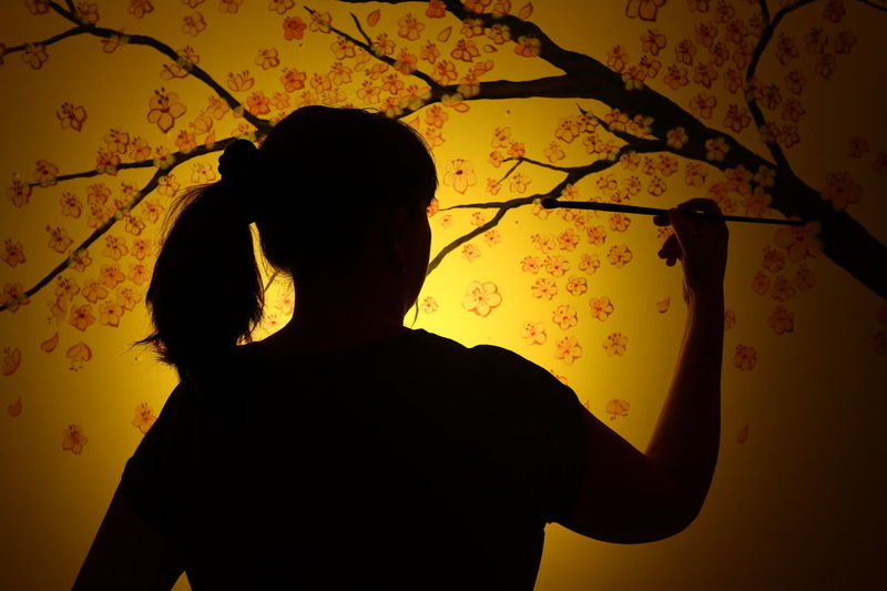 Silhouette One Person Indoors  ArtInMyLife Artistic ArtWork Art, Drawing, Creativity Flower Fragility Creativity Backgrounds Woman At Work EyeEmNewHere The Week On EyeEm Mix Yourself A Good Time Paint The Town Yellow