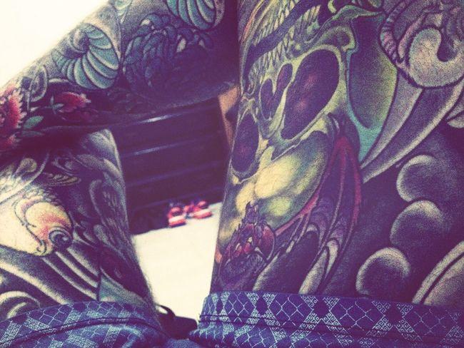 My tattoed legs. Relaxing