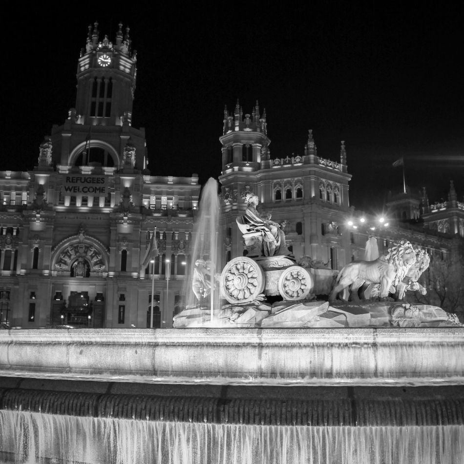 Architecture Ayuntamiento Ayuntamiento De Madrid. Building Exterior Built Structure Check This Out Cibeles CibelesPalace EyeEm Gallery Fountain Fountains Illuminated Night No People Outdoors Religion Statue Travel Travel Destinations Welcome To Black