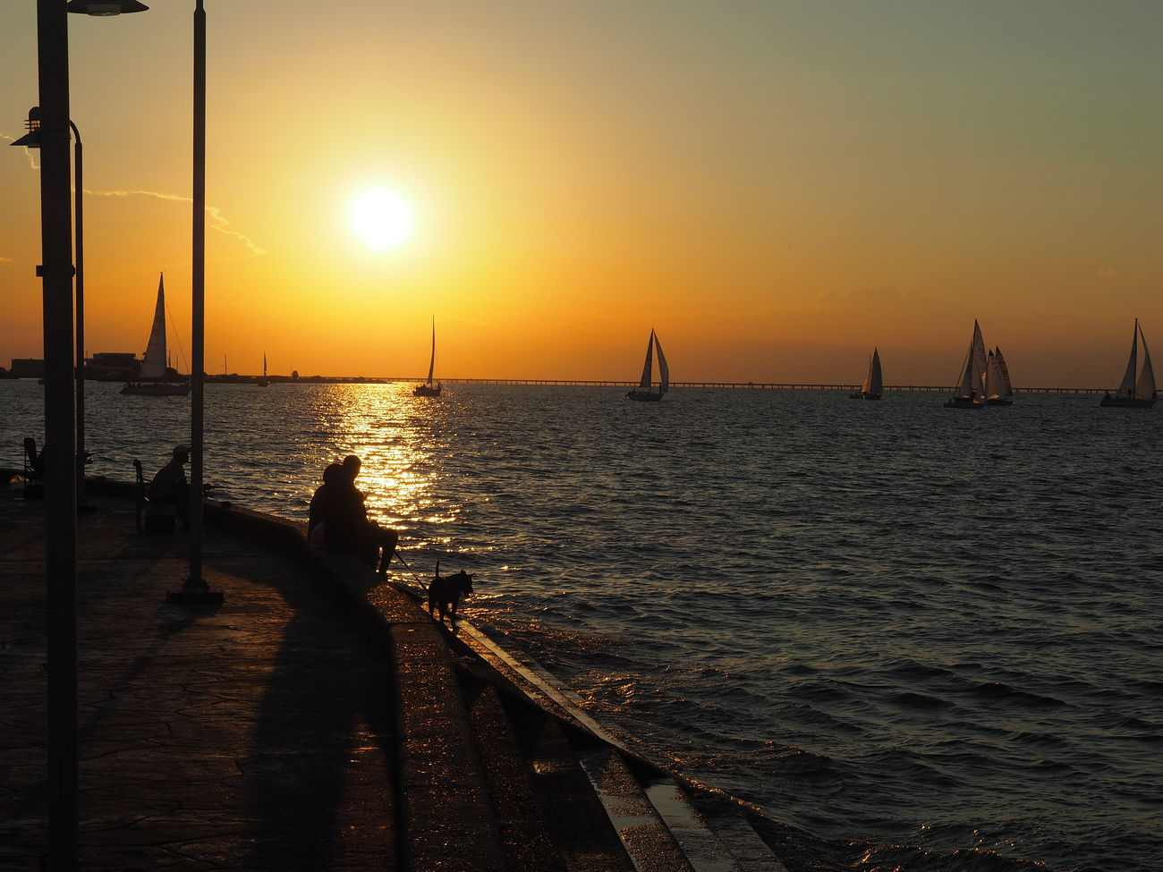 Lakeshore, New Orleans Lakeshore Nautical Vessel Orange Outdoors Sailboats Scenics Sea Silhouette Sunset Warm Water