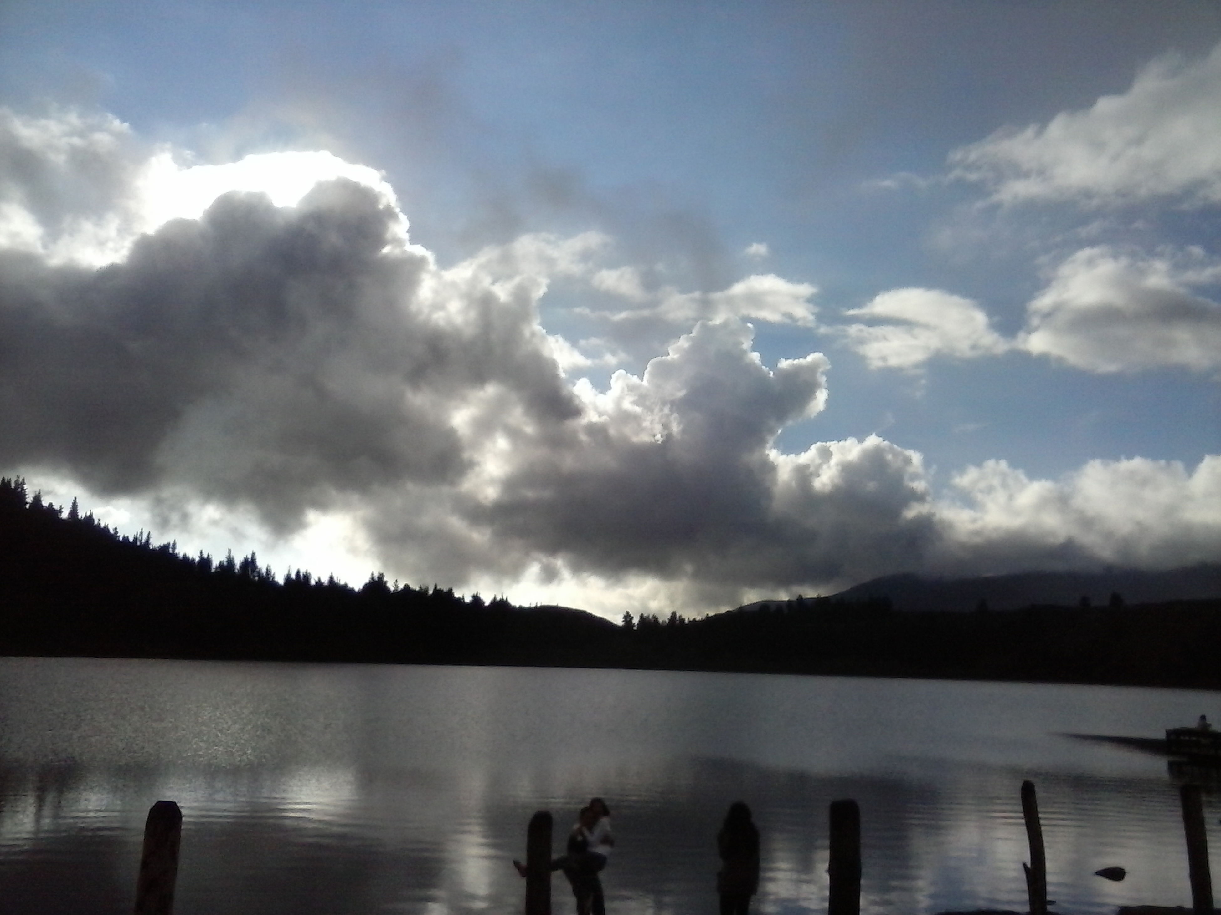 water, sky, cloud - sky, lake, tranquility, tranquil scene, silhouette, scenics, cloudy, beauty in nature, reflection, nature, cloud, river, mountain, idyllic, men, lakeshore