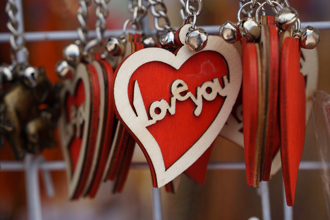 Close-up Communication Extreme Close Up Focus On Foreground Hanging Heart Key Chain Large Group Of Objects Love No People Red Velentines Velentines Day TakeoverContrast