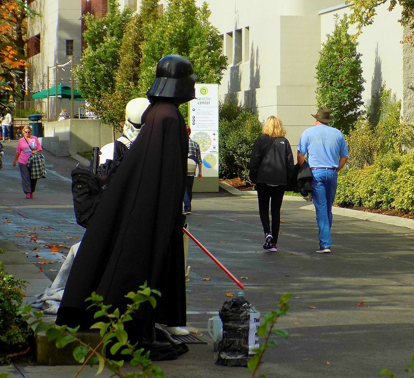 """""""May the Force be with you this Sunday!""""👍 Autumn Star Wars Darth Vader Full Length Standing People Day Outdoors not my First Eyeem Photo The Way I See It The Week On EyeEm Tree Beauty From My Eyes To Yours Traveling Check This Out Eye4photography  Tranquil Scene EyeEm Best Shots Best Eyeem Pics Taking Photos Star Wars Guy Building Exterior People Walking  in Downtown Seattle, Washington ( USA )"""