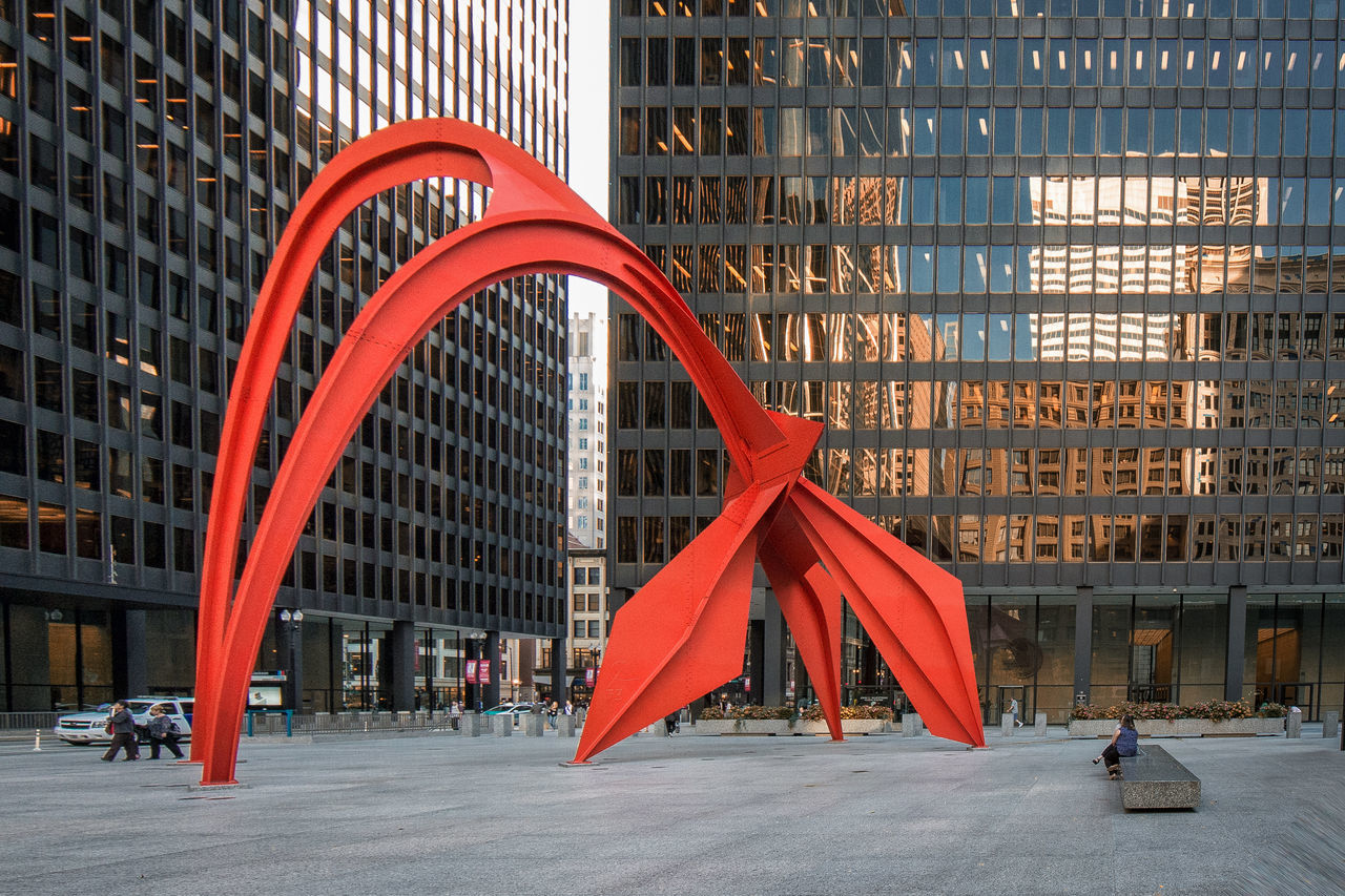 Architecture Architecture Business Business Finance And Industry Chicago City Corporate Business Day Flamingo Library Modern Outdoors People Red Reflection Skyline