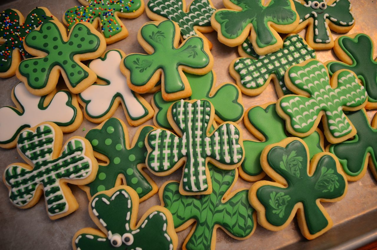Gourmet St. Patrick's Day cookies. Baked Charm Close-up Clover Clover Leaf Cookies Day Dessert Food Food And Drink Freshness Green Color High Angle View Icing Indoors  Indulgence Irish No People Shamrock St. Patrick's Day Still Life Sweet Sweet Food Table