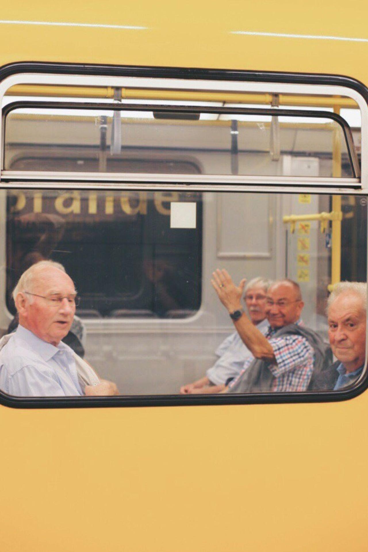 Train Station Bvg Senior Adult Senior Men Transportation Senior Women Men Senior Couple Headshot Public Transportation Mature Men Togetherness Gray Hair Yellow Land Vehicle Group Of People Lifestyles Sitting Day Human Body Part Adult