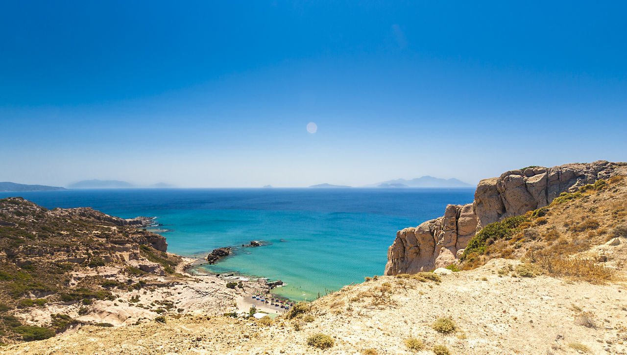 Greece, Kos island, view to Paradise Beach Adriatic Sea Bay Beach Beauty In Nature Blue Crete Destination Greece Holiday Island Kefalos Kos Mediterranean  Nature Panorama Paradise Recreation  Rhodos Rocks Santorini Sea Travel Turkey Unfiltered View