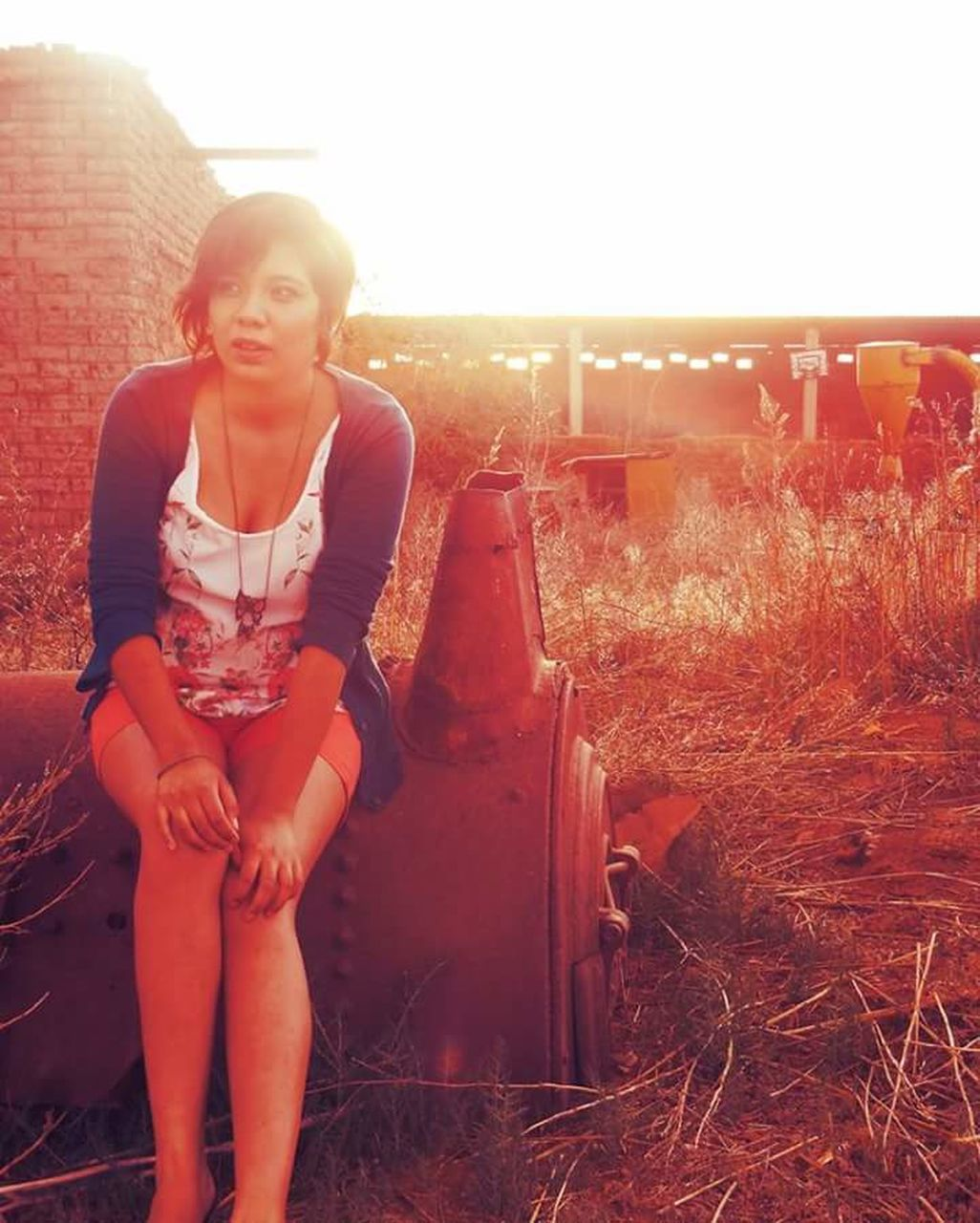 sunset, sunlight, lens flare, front view, young adult, one person, only women, outdoors, young women, one woman only, full length, sitting, portrait, real people, adult, beautiful woman, one young woman only, standing, grass, lifestyles, women, adults only, beauty, happiness, rural scene, day, clear sky, people, nature, sky