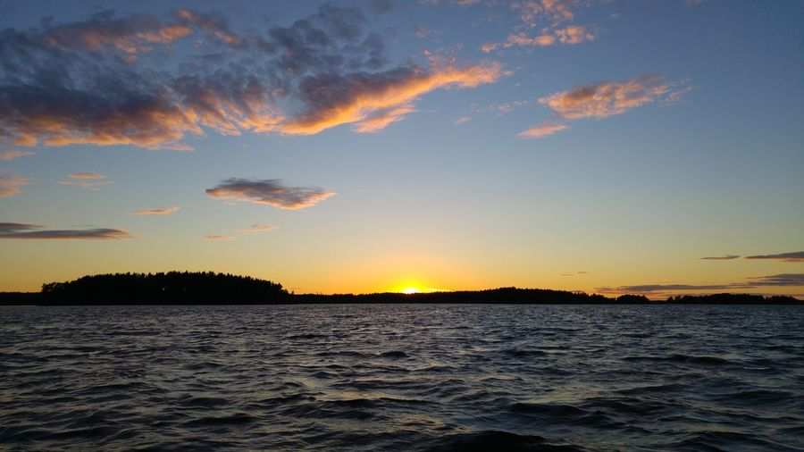 Sunset Silhouette Water Beauty In Nature Tranquility Scenics Landscape Horizon Over Water Golden Hour Shimmering No Edit/no Filter Lgg4photography Lake Storsjön Sandviken Boat Ride Summer Time