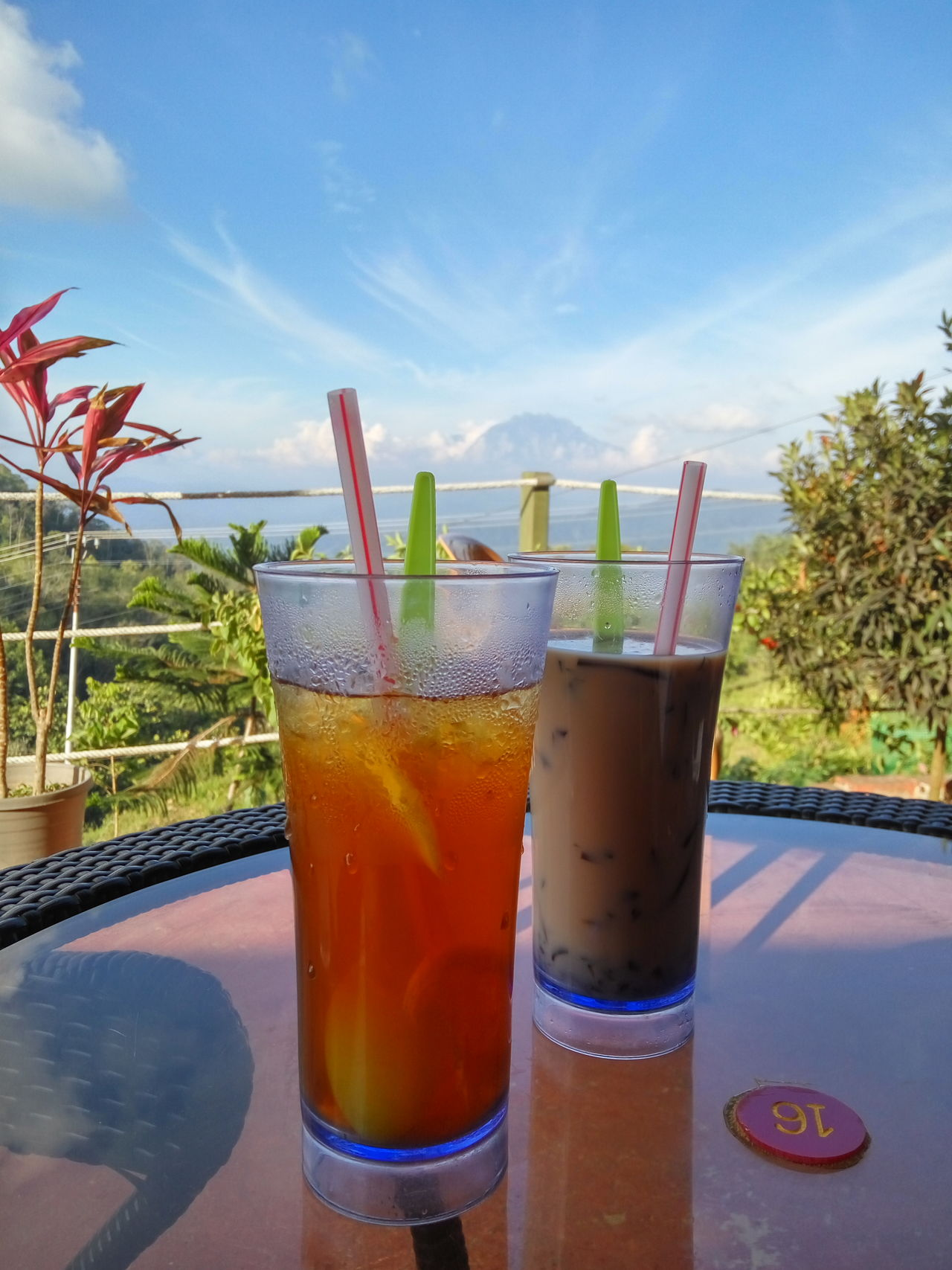 Enjoying the view from Kokol Farmstay. Refreshment Cold Temperature Sky Outdoors Day Food And Drink First Eyeem Photo Ice Lemon Tea First Eyeem Photos