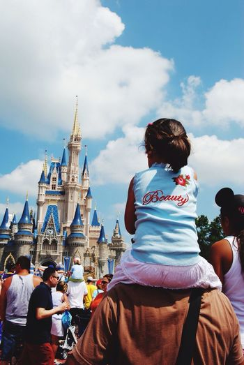 USA Travel Walt Disney World Beauty Castle The Tourist Traveling Tourists Piggyback Shoulder Ride Riding Family Dad Child Girl Daughter Colour Of Life