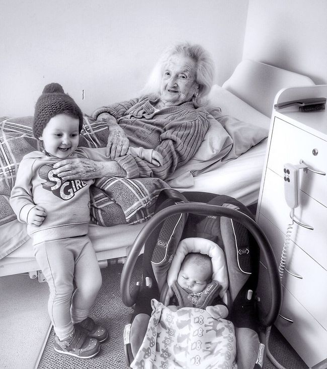 Nearly a century between them. Today my grandmother (99 years old in a couple of weeks) met my youngest child (5 days old) Bnw_collection Baby Love Portrait