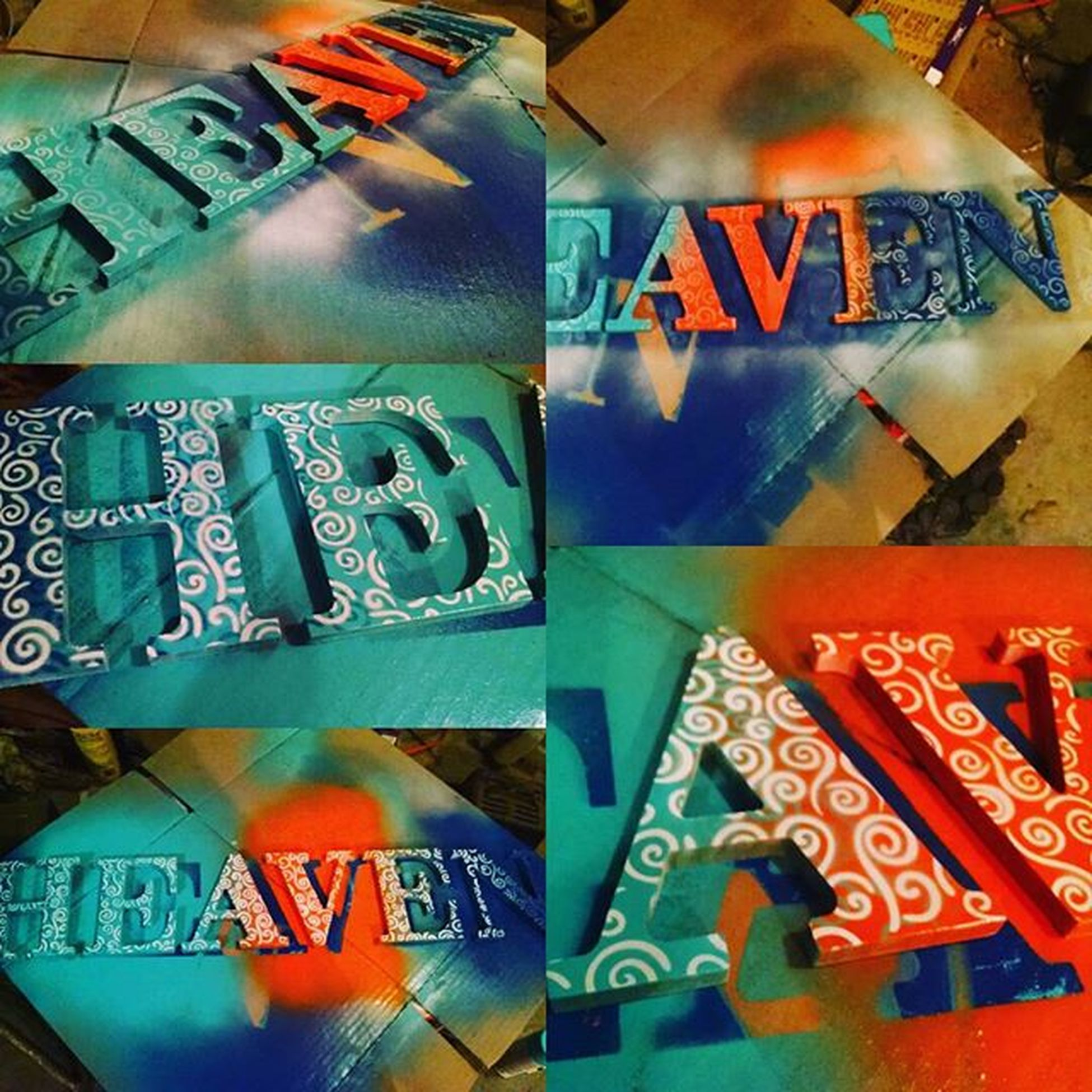 Crafting some letters to hang above the bed. Finish pic coming soon. Meanwhile I'll just be watching paint dry. Crafting Stencil Painting Art Heaven Sliceofheaven Lettering