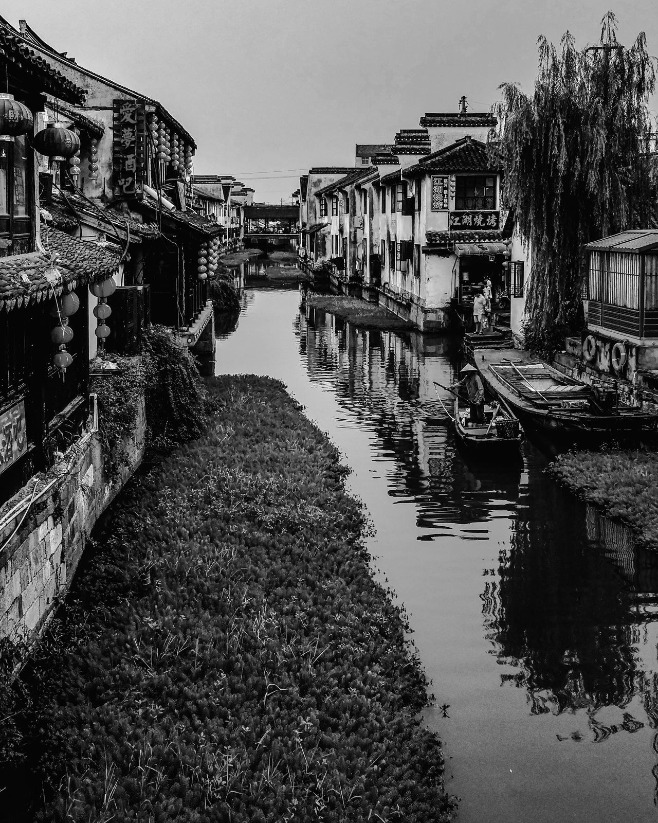Sky Reflection Water Outdoors Day Architecture No People Nature Asian Culture Travel Tranquility Water Surface Boat China Wanderlust