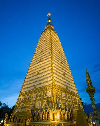 The Golden Pagoda Budhakhaya Watprathatnongbua Ubonratchathani Thailandtravel Blue Sky