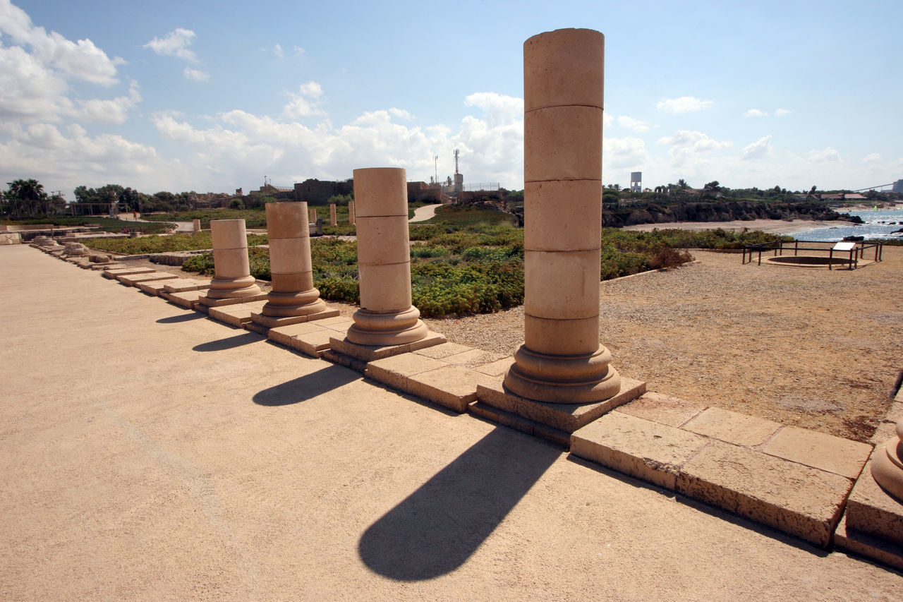 Ancient city Caesarea from Israel Ancient Archeology Architecture Caesarea Empire Excavation Historic Holy Land Israel Landmark Mediterranean  Old Pillars Rock Roman Ruins Sea Stone