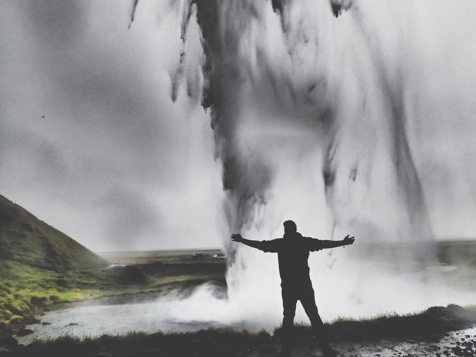 Beautiful stock photos of waterfall, Arms Outstretched, Day, Flowing Water, Hill