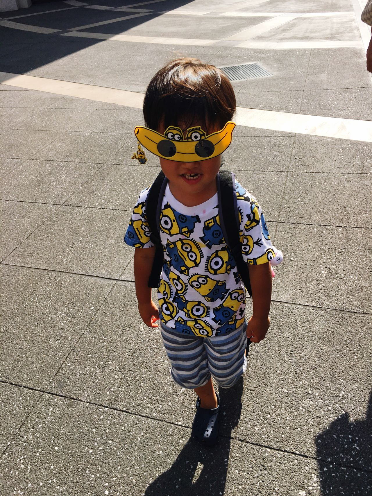 Childhood One Boy Only Sunglasses Children Only Child One Person Toddler  Shadow Males  Portrait Casual Clothing Looking At Camera Outdoors Day People Disguise Boys Real People Road Minions Minion  EyeEmNewHere
