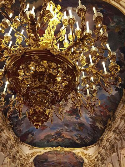Schönbrunn Palace, Vienna Fresco Schonbrunn Palace Schönbrunn Castle Palace Sissi's Castle Sissi's Palace Chandelier Gold Colored Art And Craft Spirituality No People Low Angle View Religion Statue Gold Architecture