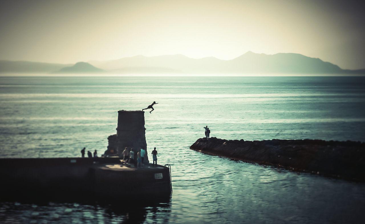 Landscape Arran  Jump Sea People Summer Harbour Yeehaaa EyeEm Best Shots Mono