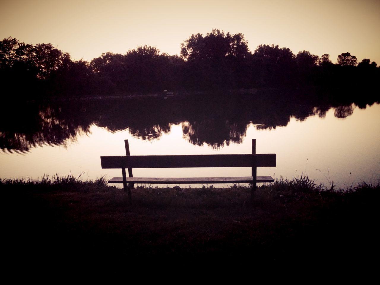 Stanton's Lake Falls City, Ne Nebraska Summers Reflections In The Water Water Pond Lake Serenity Pondering Bench By Rhe Water Bench Reflection