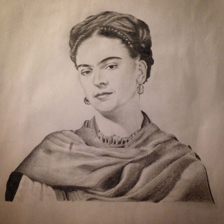 Frida Kahlo Drawing Draw Blackandgrey Realisticdrawing Blackandgray Realistic Graffite