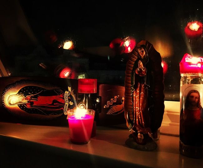 Private little Altar in front of my rain covered window in Hamburg Atheist Prayforme Jesus Virgen De Guadalupe Virgen María Santa Cruz Jason Jessee Candels At Hamburg Eppendorf First Eyeem Photo