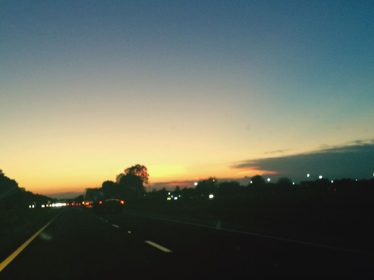 Night sky....... Sunset Evening Sky Headlights Dusk Night Lights Highway Traveling Jacksonville Fl